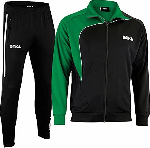 OMKA Trainingsanzug Sportanzug Jogginganzug Freizeitanzug, Größe:L, Farbe:Grün/Schwarz