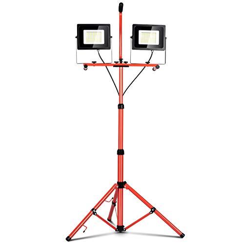 Led Work Light 10000 Lumen 5000K led Work Light with Stand Dual Head Work Light Adjustable Metal telescoping Tripod Stand Work Lights IP65 Waterproof