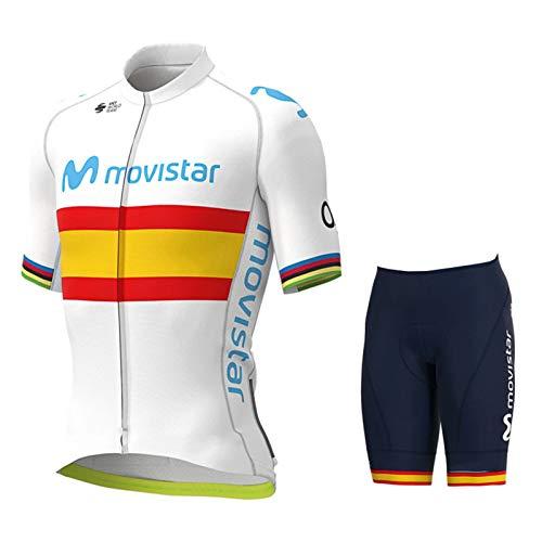 HXPainting Maillot Ciclismo Hombre Ropa Bici Camiseta Manga Corta Chaqueta Transpirable y Pantalones Cortos MTB 9D Gel