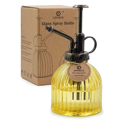 """OFFIDIX Glass Watering Spray Bottle, 6.3"""" Tall Vintage Style Decorative Plant Atomizer Watering Can Pot with Bronze Plastic Top Pump for Indoor Potted Plants(Yellow)"""