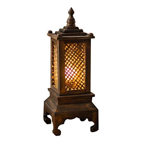 Lámparas de Mesa Lampara mesita noche Estudio retro de la sala de estar Lámpara de mesa de bambú Lámpara hecha a mano Dormitorio creativo Iluminación de la lámpara de cabecera Mesilla de Noche Lámpara