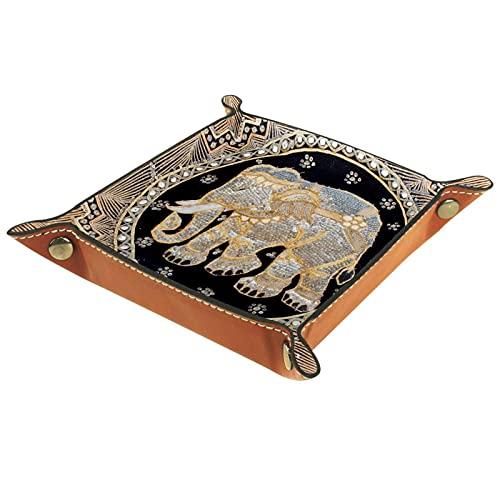 Alfombra colorida vintage con elefante, organizador de joyas de cuero PU bandeja de dados organizador de escritorio anillos pendientes clave reloj accesorios valet bandeja decoración del hogar