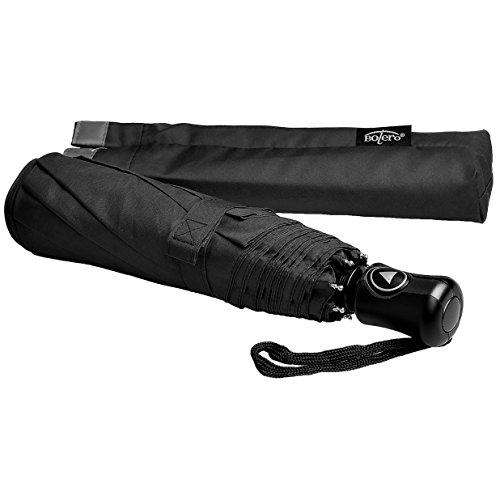 Bolero Ombrello Portatile Mini Pieghevole Antivento Automatico di alta qualità - apertura Automatica - Windproof - Tessuto Pongee, Nero