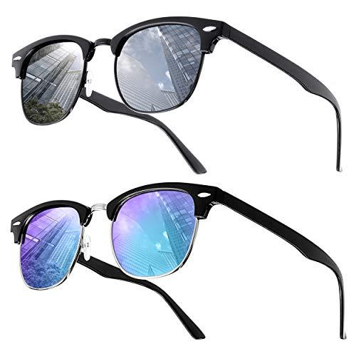 """UrbanSky Sonnenbrille """"D.B."""" für Damen und Herren - 2er-Pack - polarisiert (Schwarz:Blau/Silber verspiegelt)"""