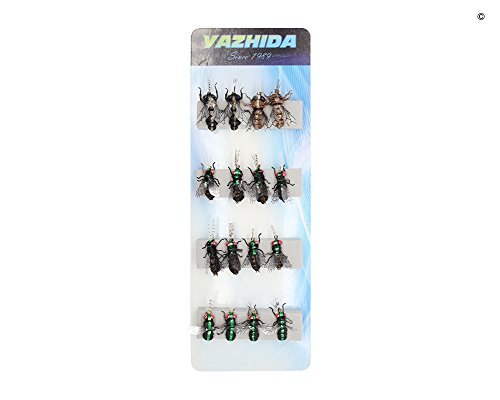 YZD Realistic Fly Fishing Flies Set Dry Fly Mosquitos Set of 16 Flies Handmade Rainbow Trout Fishing Lure kit Flyfishing