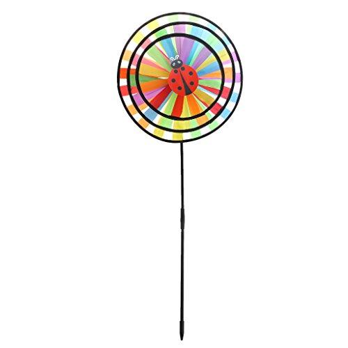 Sac de rangement AXSWER éolienne pour jardin, multicolore arc-en-ciel à triple roue, moulin à vent, jardin, cour, décoration extérieure