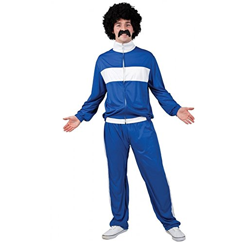 Adult Mens 80's Retro Trackie - Blue Fancy Dress Costume (One Size)