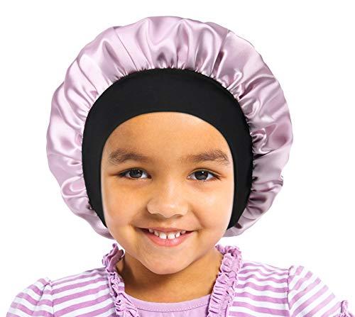 SENGTERM Satin Bonnet de Sommeil Elastique a Large Bande Pour Dormir Bonnet Chapeau soin des Cheveux pour Enfants Enfants