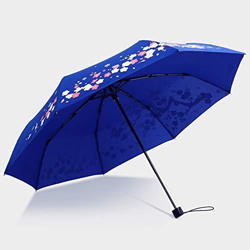 Memory Paraguas Retro, Creativo Paraguas De Tres Pliegues Negros Y La Lluvia De Doble Uso De Paraguas Patrón De Personalidad Ciruela, Aumento Unisex Resistente A La Intemperie Paraguas