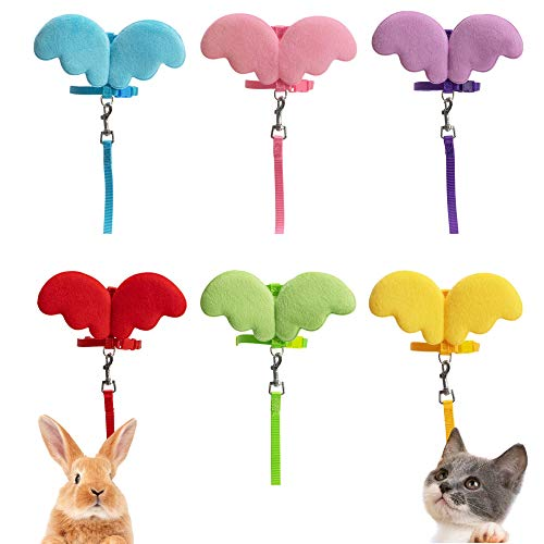 FunPetLife Rabbit Harness and Leash- Adjustable Angel Wing Style Bunny Harness and Leash, Pet Harness Leash for Rabbit Cat Puppy Kitten and Other Small Pets Animals-No Pull Easy Walking (Purple)