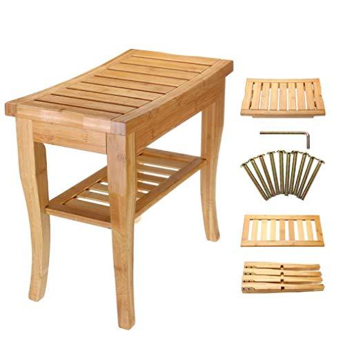 HLL Banco de bambú, taburete de baño, taburete de inodoro, silla de ducha, organizador de almacenamiento de bañera, muebles de baño F/A/Como se muestra