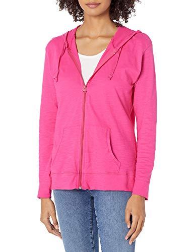 Hanes Women's Jersey Full Zip Hoodie, Amaranth, Large