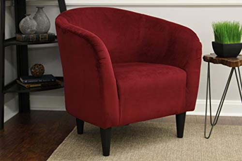Tub Accent Chair Berry Red Microfiber Upholstery Padded Seat...