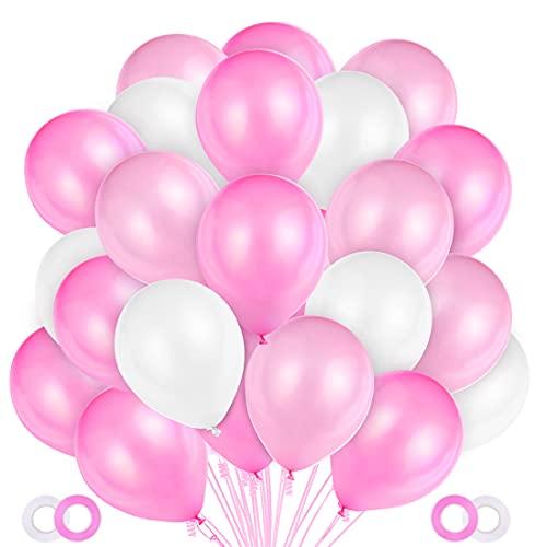 100 Pezzi Palloncini Rosa,Palloncini in Lattice Rosa e Bianchi,Rosa Palloncini per San Valentino, Compleanno Festa, Matrimoni Decorazioni,Battesimo Bimba,Prima Comunione Bambina Decorativi