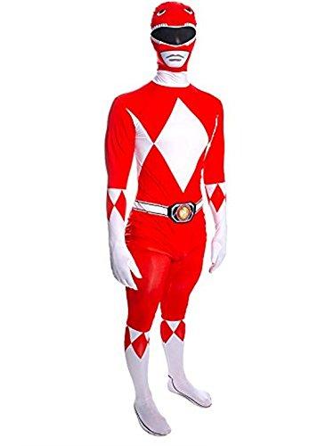 Déguisement Power Ranger Mighty Morphin Rouge pour Homme Adulte, Combinaison Seconde Peau, Taille L, (Hauteur Entre 162 - 178 cm)