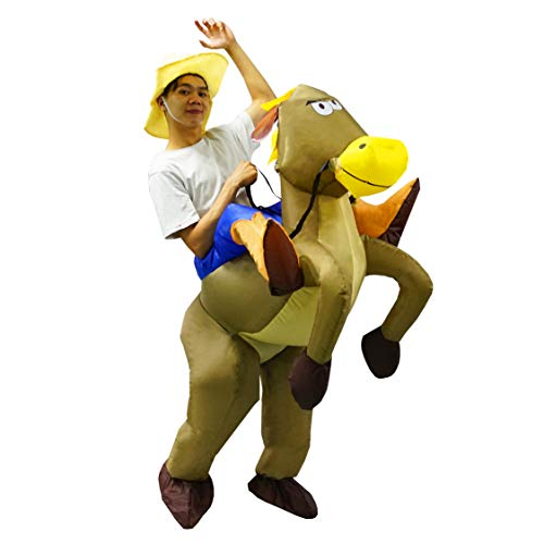 PARAYOYO Halloween Inflatable Costumes Adult Men Women Horse Cowboy Cowgirl Suit Brown