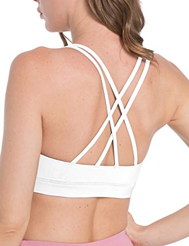 OXZNO Strappy Padded Sports Bras for Women Crisscross Back Workout Running Yoga Tank Tops for Women(White,M)