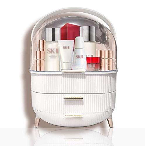 Organizador de maquillaje, caja de almacenamiento de gran cosmética con cubierta transparente a prueba de agua y resistente al polvo, mango portátil y con cajones, organizador de maquillaje para encim