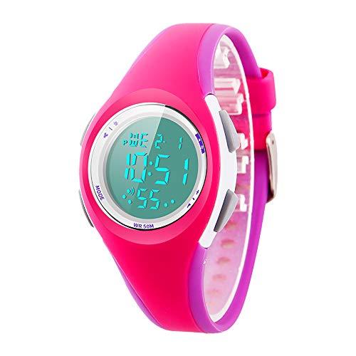 Kid Watch Sport LED Alarm Stopwatch Digital Child Quartz Wristwatch for Boy Girl Green (Rose red)