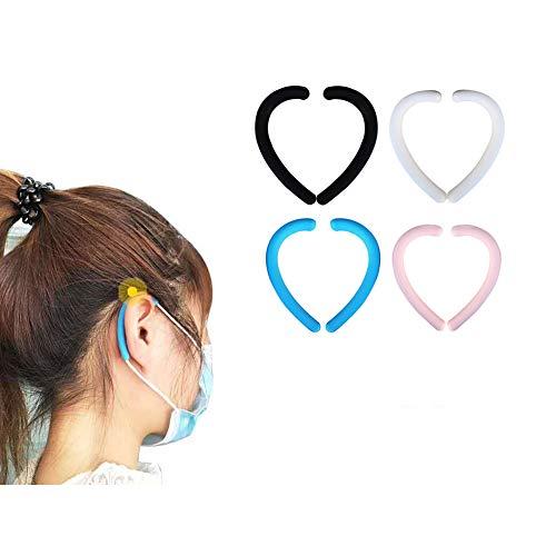 M-a-s-k Ohrriemen Silikon Ohr Silikon Ohrbügel Ohrhakenschutz 4 Paar pro Packung (Schwarz)