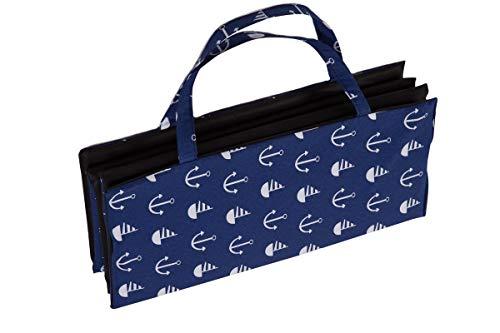 Ferocity Faltbare Strandmatte Liegematte mit Tragegriff Schaumstaff Strapazierfähig Decke Modell 9 Blaue Anker-Muster [061]