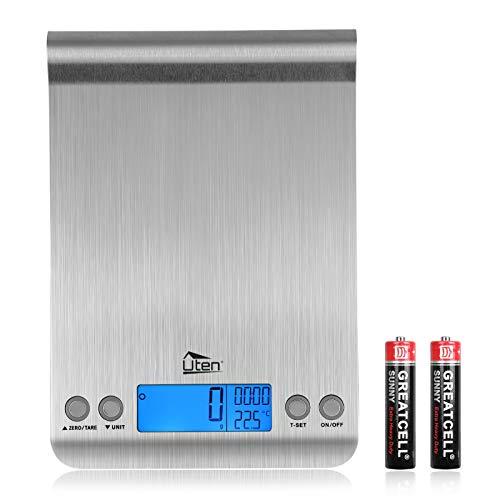 Uten Balance de Cuisine Électronique 5kg, Balance Numérique Professionnelle, Balance Alimentaire avec Minuteur Thermomètre, Mini Balance de Cuisine Précision Pouvant être Accrochée