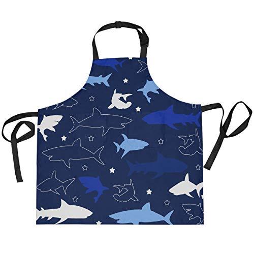 TropicalLife HaJie - Delantal ajustable con diseño de tiburón océano y animal con 2 bolsillos para hombres y mujeres, cocina, unisex, ropa de trabajo
