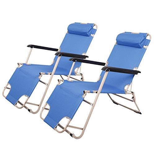 Livebest Outdoor Beach Lounge Chair Adjustable Reclining Chaise Lounger Chair Sun Patio Garden Recliner with Pillow
