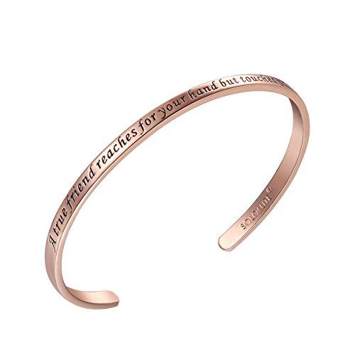Solocute Rosegold Damen Armband mit Gravur A True Friend Reaches for Your Hand But Touches Your Heart Inspiration Frauen Armreif Schmuck