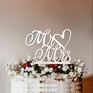 HOT-Cake Decorating Supplies - 1Pcs Wooden Love Just Married Mr&Mrs Cake Topper DIY Wedding Cake Topper Engagement Gifts L...