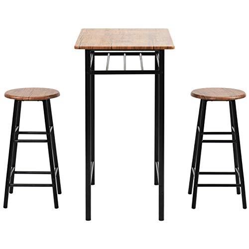 Bartafel en stoel combinatie 3-delige bartafelset, moderne pubtafel en stoelen Eetset, aanrechtbladhoogte eettafel set met 2 barkrukken, ingebouwde opberglaag, eenvoudig te monteren, bruin.