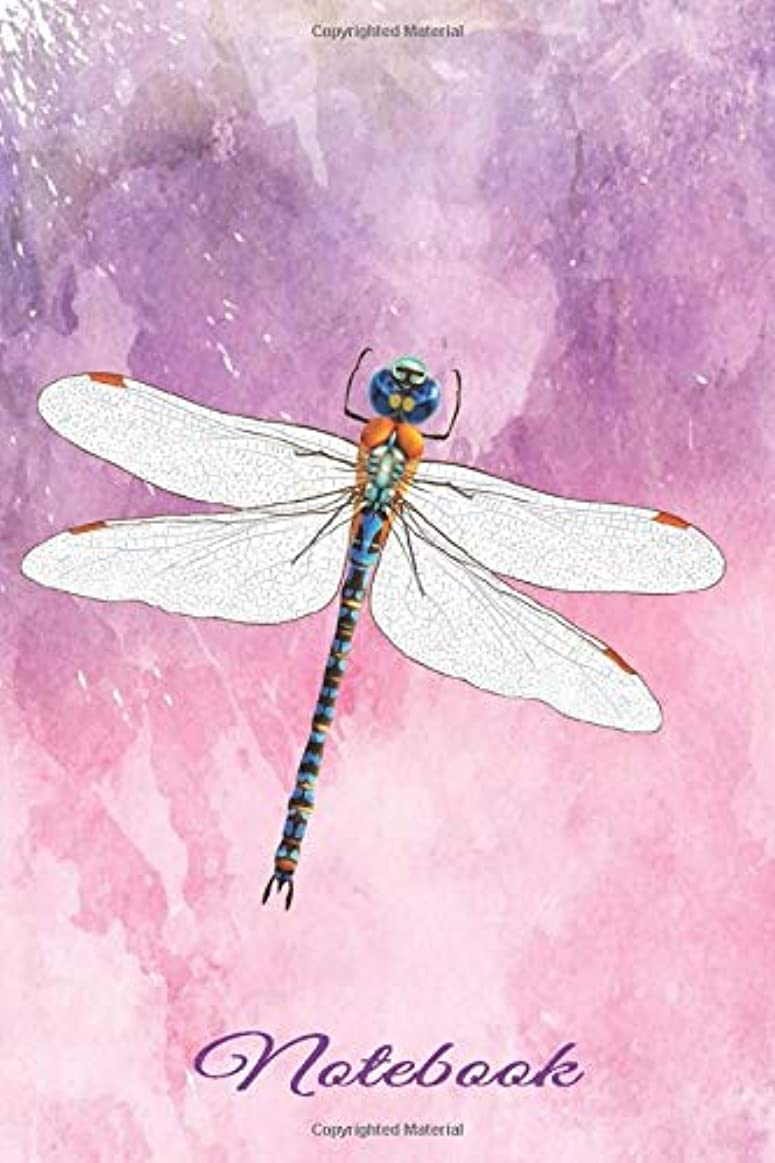 飢えた債務者進行中Journal & Notebook Dragonfly: Gifts for Dragonfly Lovers – Wide Ruled Lined Paper - Writing Book for Adults Who Like Animals – Purple Watercolor
