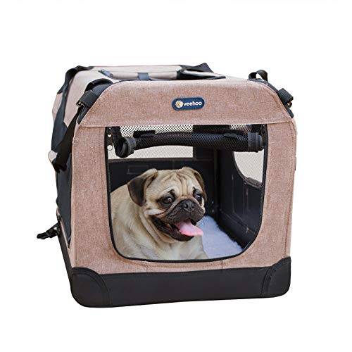 "Veehoo Folding Soft Dog Crate, 3-Door Pet Kennel for Crate-Training Dogs, 5 x Heavy-Weight Mesh Screen, 600D Cationic Oxford Fabric, Indoor & Outdoor Use, 20"", Beige Coffee Basic Crates"