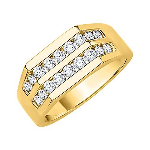 KATARINA Alianza de boda para hombre de doble fila en oro amarillo de 14 quilates (1/2 quilates, I-J, I1)