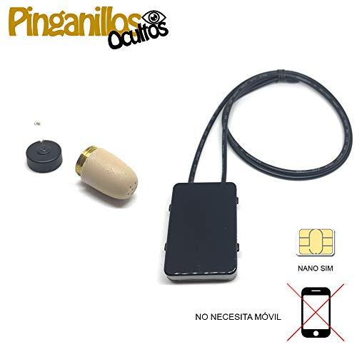 Auricular Invisible + Collar gsm (teléfono móvil) de Pinganillosocultos (Supermini, Negro)