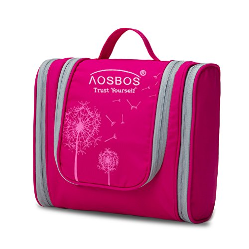 Kulturtasche Frauen Kosmetiktasche Zum Aufhängen Mädchen Waschtasche Wasserdicht Leicht Kulturbeutel Haken Fächern Groß Pink