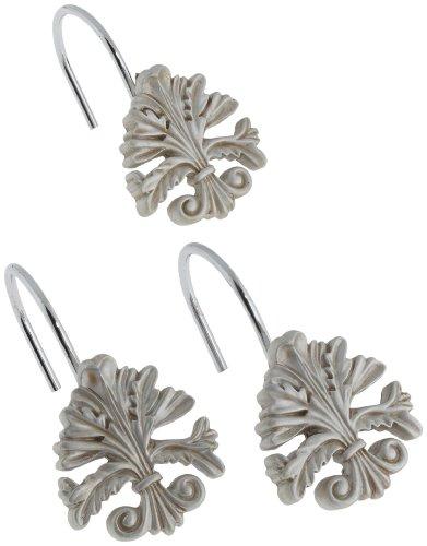 Carnation Home Fashions Fleur Dis Lis Duschvorhang-Haken aus Keramikharz, Keramik, Silber, 12 Stück