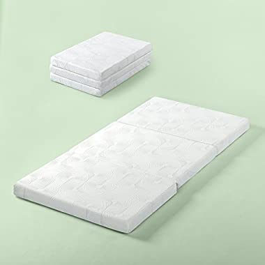 Zinus Gel Memory Foam 3 Inch Tri-Fold Comfort Portable Folding Mattress or Floor Mat, Single / Cot Size