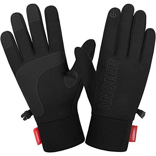 Lapulas rękawiczki męskie damskie z ekranem dotykowym S04, cienkie rękawiczki do biegania, fitnessu, na jesień, zimę, ciepłe, antypoślizgowe, wiatroszczelne, czarne, do jazdy na rowerze, jazdy na rowerze