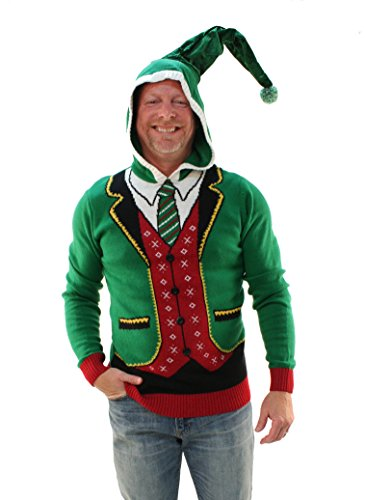 Ugly Christmas Sweater Men's Head Elf Boss Suit Hooded Pullover Sweatshirt Jolly Green