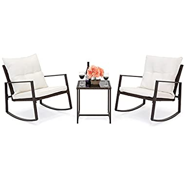 Best Choice Products 3-Piece Patio Wicker Bistro Furniture Set w/2 Rocking Chairs, Glass Side Table, Cushions - Beige