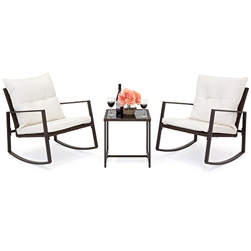 Best Choice Products 3-Piece Patio Wicker Bistro Furniture Set w/ 2 Rocking Chairs, Glass Side Table, Cushions - Beige