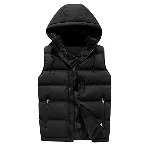 CHIYEEE Heren Winter Gilet Warm Mouwloos Jas Down Katoen Jas Vest Top met Hood M-6XL