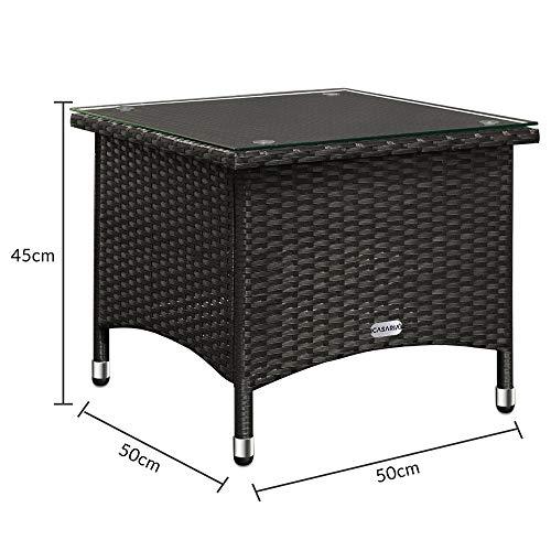 Deuba Polyrattan Tisch Beistelltisch Rattan Teetisch Gartentisch Glasplatte 50x50x45cm schwarz Garten Möbel - 8