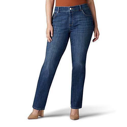 Lee Women's Plus Size Relaxed Fit Straight Leg Jean, Jaded, 24W Petite