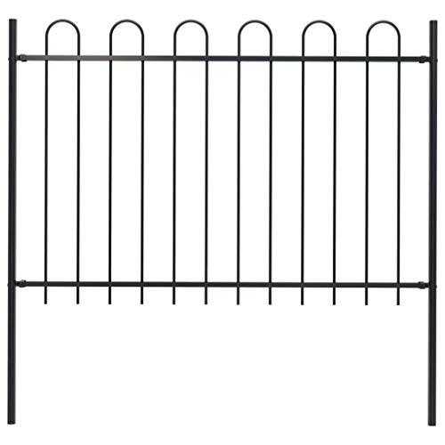 DESITEUS Outdoor Metal Fence Garden Fence with Spear Top Coated Rustproof Fencing Panel Black 66.9' x 66.9' (L x H)