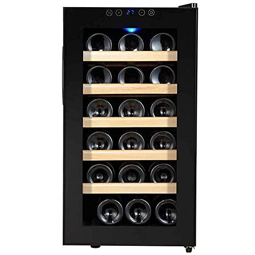 JLKDF Refrigerador de Bebidas, Enfriador de Vino de 18 Botellas, refrigerador pequeño con Puerta de Vidrio, refrigerador pequeño con estantes Ajustables, refrigerador Vertical para Vino/