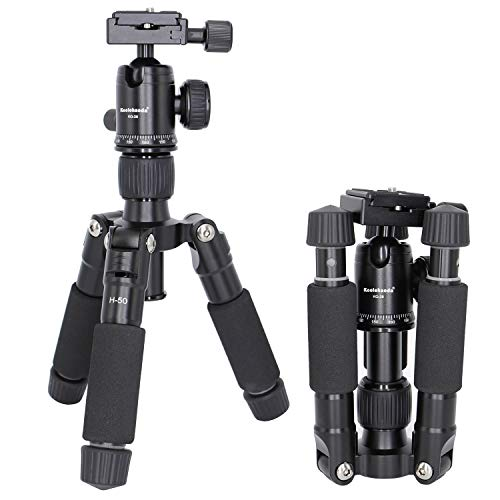 Koolehaoda portátil plegable Mini trípode compacto Macro Kit Mini trípode de sobremesa con rótula de bola para cámara réflex digital Canon Nikon (H-50)