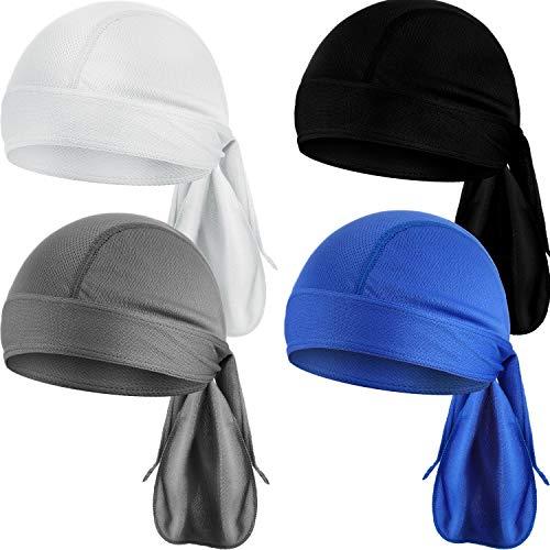 Chuangdi Schweiß Wicking Beanie Mütze Schädelkappe, Schnell Trocknende Piratenhüte für Männer und Damen (Bunte Kappen, 4 Packungen)