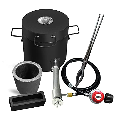 FASTTOBUY 6 KG Propane Melting Furnace Kit w Graphite Crucible and Tongs 1300°C /2372°F Casting Refining Smelting for Precious Metals Gold Silver Tin Aluminum 7-in-1 Melting Casting Tool